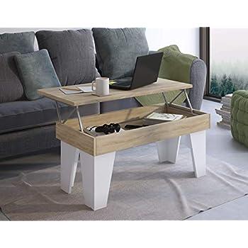 Haut Innovation Basse 92x50x4557 Home Blanc de Clair cm Table MangerModèle relevableSalle Comfort MatMesure à KLChêne dhtsQr