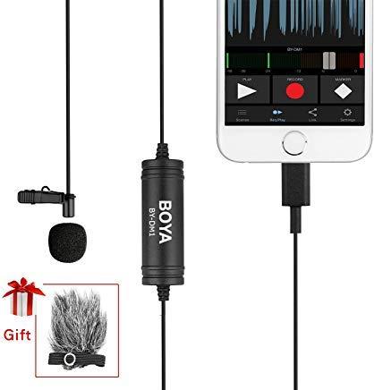 BOYA DM1 Lavalier Mikrofon Revers Clip-on Mic mit Lightning-Anschluss IOS Interface für IOS iPhone X 8 7 6 Plus iPad iPod Nano Touch Verwendung für Youtube, Interview, Podcast,Vlog Ipod Nano Mic