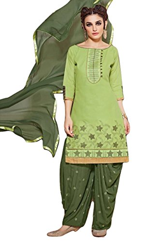 Shalibhadra light green color top with dark green color duppata and dark green color salwar cotton unstitched fully heavy Embroidered work patiala suit pataliya dress material for women