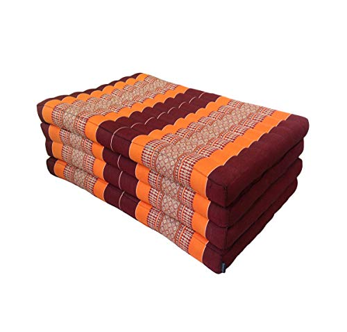 Traditional Thai kapok pieghevole materasso per yoga massaggi o relax–lunghezza extra misura 200x 80cm Orange, Brown