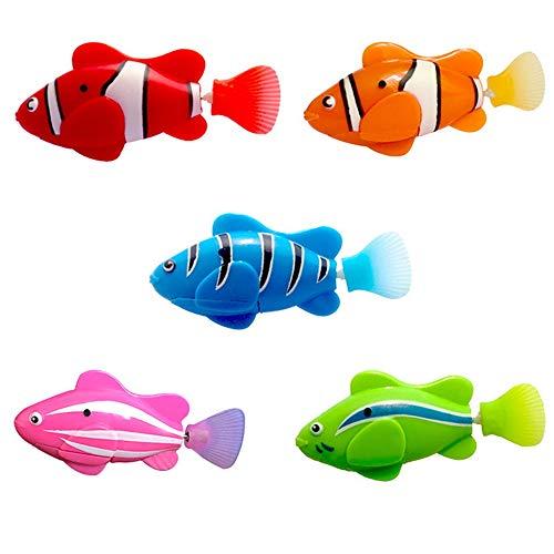 NIBESSER Robo-Fisch Schwimmende Clownfische Lebensechte Bewegungen elektronisches Wasser-Spielzeug Kleinkind Badespielzeug Wasserspaß für Kinder Haustier bunt 5 Stücke