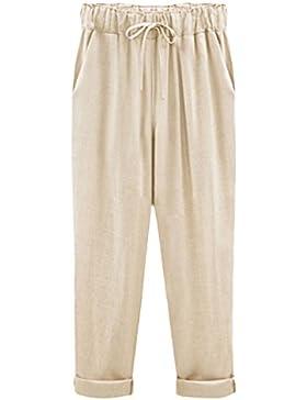 Womens Cropped Ankle Pantalón Casual Pantalones De Lino con Cordon Plus Size