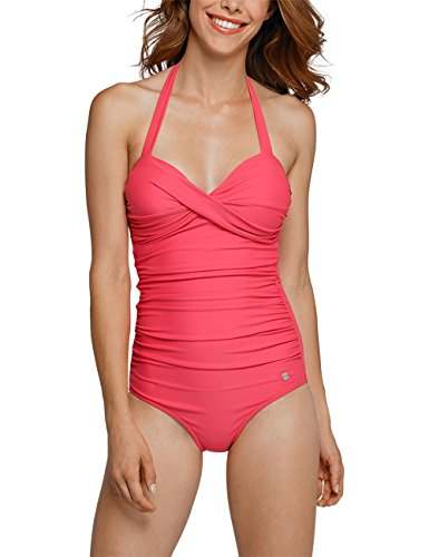 Schiesser Damen Einteiler Aqua Badeanzug, Rot (Pink 504), 36 (Herstellergröße: 036B)