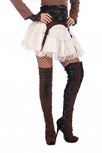 Braune Overknee Damen-Stiefelstulpen für Piraten-Kostüme und - Herren Piraten Kostüm Muster