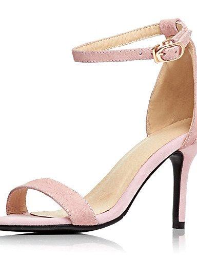 LFNLYX Chaussures Femme-Mariage / Habillé / Soirée & Evénement-Noir / Rose-Talon Aiguille-Bout Ouvert-Sandales-Cuir Black