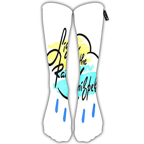 Unisex Classic Knee High Over Calf Listen to The Rain Whisper Simple 3D Print Athletic Soccer Tube Cool Fun Party Cosplay Socks -