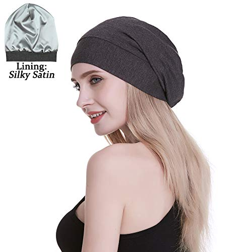 FocusCare Damen satin gefüttert schlaf slouchy cap curly slap kopfbedeckung geschenke für kraus haar eine größe passt meistens dunkler heather Grau