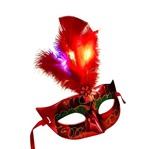 Halloween Maske, HARRYSTORE Damen LED Faser Masken Maskerade Fantasie Partei Prinzessin Feder Masken für Halloween Partei (Rot)