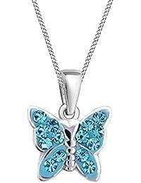 GH  KIDS Blau Kristall Schmetterling ANHÄNGER mit KETTE 925 Echt Silber  Mädchen Baby Kinder SET c22783a35e