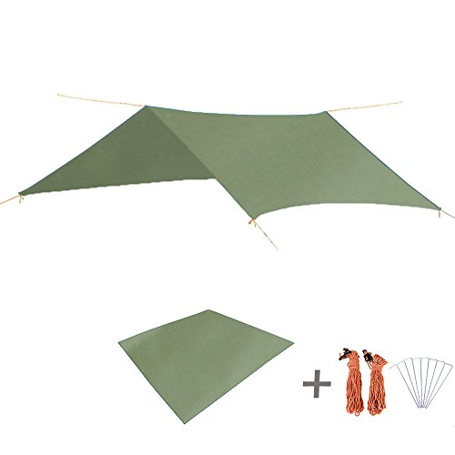 TRIWONDER wasserdichte Regen Fly Hängematte Camping Shelter Zelt Tarp Fußabdruck Sonnenschirm Matte für Wandern Backpacking Strand Picknick (Grün+ Zubehör)