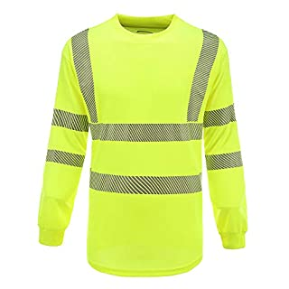 AYKRM Hi Vis High Viz Visibility Long Sleeve Safety Work T Shirt EN20471 hi vis t Shirts Yellow