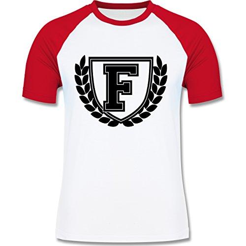 Anfangsbuchstaben - F Collegestyle - zweifarbiges Baseballshirt für Männer Weiß/Rot