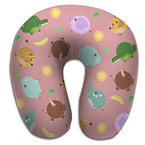 zexuandiy U-Shaped Pillow Fashion Travel Rest Pillow for Neck Pain,Breathable Soft Comfortable Funny Pattern African Animals Sun Banana Lion Crocodile Bull Hippo Elephant pink Fun -