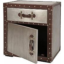 ts-ideen Cómoda Armario contenedor de aluminio diseño industrial en cuerina remachado