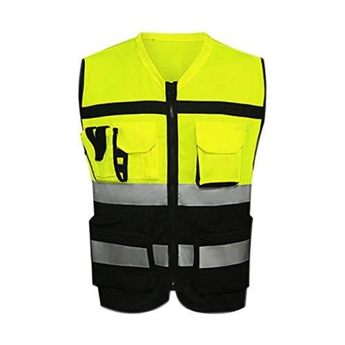 WYJW Warnweste, Sicheres Fahren Dreifarbige Modelle Auto Warnkleidung Motorradwesten Besonderheiten Atmungsaktiv (Farbe: Schwarz und Gelb, Größe: L)