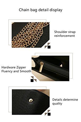 MATAGA Mode PU Handtasche Für Frauen Tragen Umhängetaschen Für Damen Handtaschen + Chain Bag JH-502 Weiß