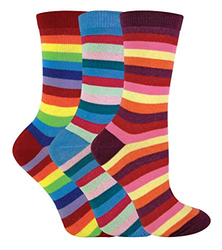 Regenbogen-gestreifte Socken (sock snob - 3er Pack Damen Baumwolle Reine Bunt Streifen Gestreift Socken (37/40, SL601))
