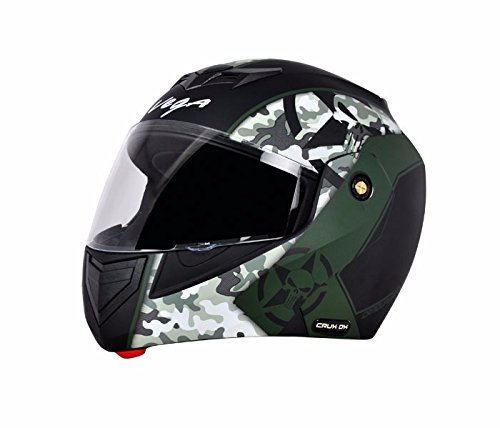 Vega Crux Flip Up Helmet, Black and Grey (Large 57 Cms - 59.5 Cms) (Clear Visor)