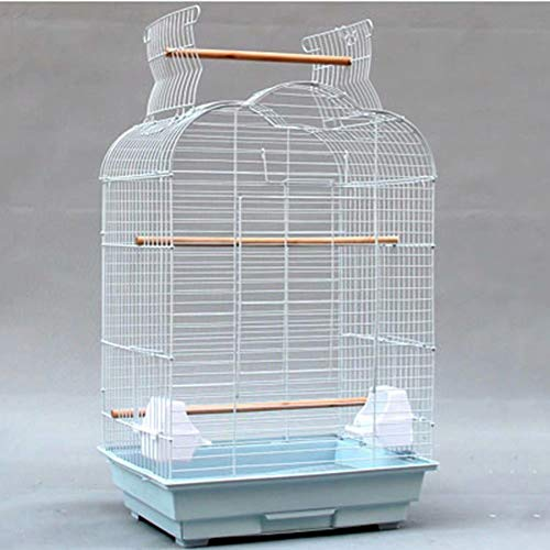 Gabbia per Uccelli Grande in Metallo Gabbia per pappagalli Aperta per pappagalli cenerini africani Conuro Cockatiels 36x 46 x 70 cm (Bianco)