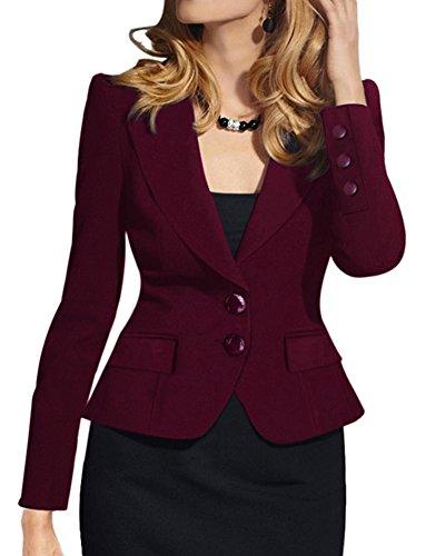 ZongSen Donna Elegante Slim Maniche Lunghe Cardigan Outwear-Giacca Blazer Rosso