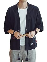 AnyuA Chaqueta para Hombre, Japonesa del Estilo, del Kimono, Cuello Mao