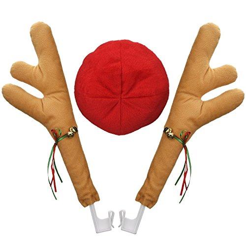 Rcdxing rreindeer Kostüm Geweih Plüsch Rentier Geweih und Nase Set Auto Weihnachten ()