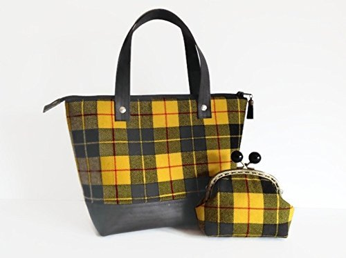 Upcycled Unique Yellow Tartan Wool and Black Cork Bag - handmade-bags