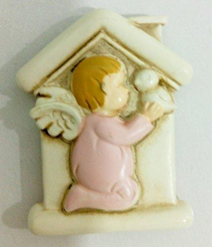 Calamita angelo rosa resina 4x3 bomboniere