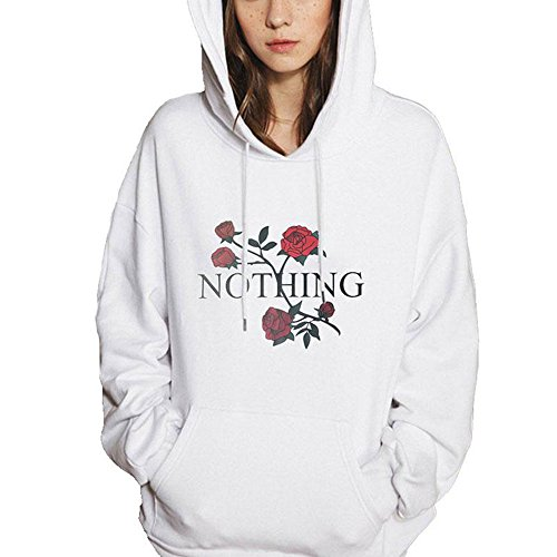 wlgreatsp Aux femmes Fashion NOTHING Letter Manches longues Sweater Top Pull Sweat-shirt à capuche white