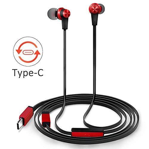 TriLink USB tipo C Auriculares de botón(Audio de Alta Resolución, DAC Chipset)Auriculares In Ear con Micrófono para Huawei P20/Lite/Mate 10/Pro, Xiaomi mi 8/8 se/mix 2/mix2s, OnePlus 6, Pixel 2/2XL