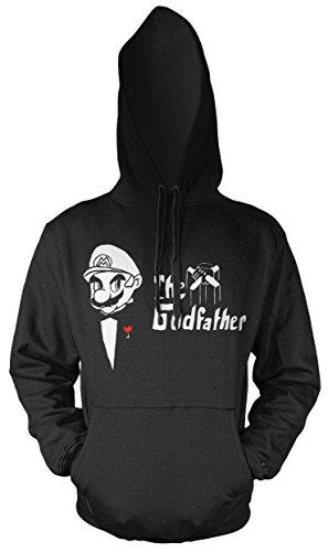 Uglyshirt89 Mario Godfather Männer und Herren Kapuzenpullover | Super Kult Pate Mafia Nintendo Geschenk (3XL, Schwarz)