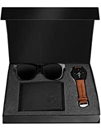 LORENZ Combo of Analogue Black Dial Men's Watch with Wallet and Wayfarer Sunglasses