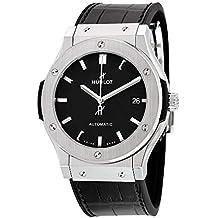 Hublot clásico fusión Negro Dial Negro Cuero Reloj ...