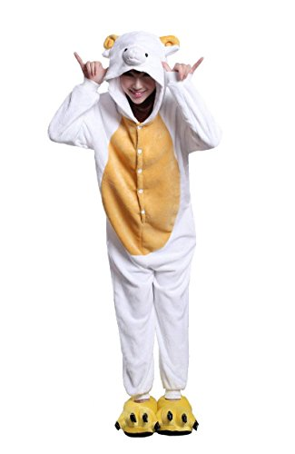URVIP Unisex Festliche Anzug Flanell Pyjamas Trickfilm Jumpsuit Tier Cartoon Fasching Halloween Kostüm Sleepsuit Party Cosplay Pyjama Schlafanzug Schaf Small