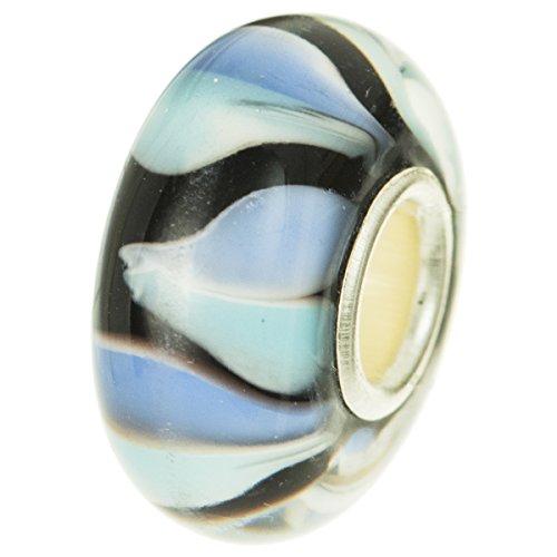 925sterling Silver Round Stripe vetro azzurro petali di fiori perline per braccialetti europei