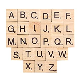 INTVN Wooden Alphabet Tiles Black Letters & Numbers Children's Educational Toy DIY Crafts Spelling Games, 200 Pieces