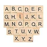 Letras de madera, INTVN Letras del Alfabeto y Números Artesanía Scrabble Letra Manualidades DIY Decoración, 200 Piezas