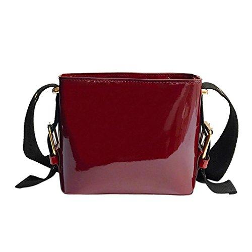 Verrückte Rabatt-Saison UFACE Damenmode Patent Eimer Tasche UmhäNgetasche Verstellbaren TräGern Frauen MäDchen Mode Leder Taschen Crossbody (Rot) (Mädchen Crossbody-tasche)
