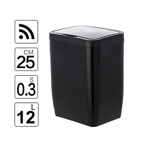 BYBYC Automatischer Abfalleimer aus Edelstahl 12L mit geruchsabsorbierendem Filter, weit öffnender Sensor, Küchenabfalleimer, Schwarz, 12L