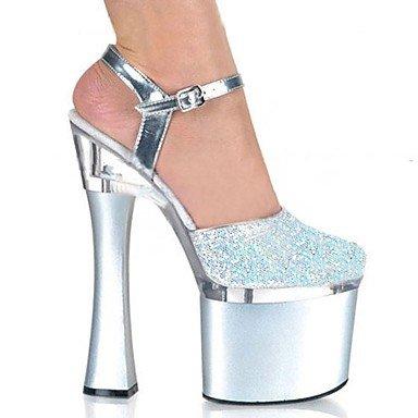 Zapatillas de mujer &Amp; Flip-Flops zapatillas PVC Summer Party &Amp; Noche Crystal Stiletto talón Ruby Negro Blanco 5en &Amp,Plata,US6.5-7/UE37/UK4,5-5/CN37