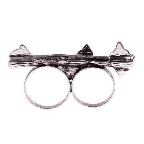 Dornen Ring Silber Doppelring - verstellbare Größe - Rosen Retro Vintage Rose Zweig Dorne