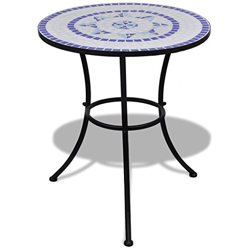vidaXL Mosaic Table 60 cm Blue / White
