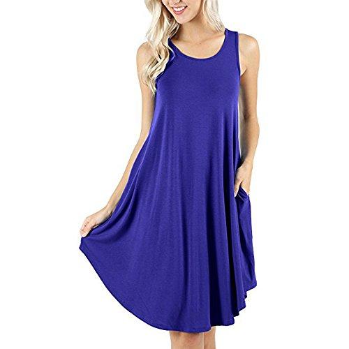 d.Stil Damen Kleid Casual Ärmellos Rundhals mit Taschen Basic Longshirt S-XXXXL (XL, Blau) -