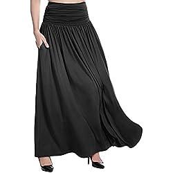 TOPKEAL Falda Larga de Cintura Alta para Mujer Falda Maxi de Color Sólido de Tallas Grandes para Damas de Verano 2019