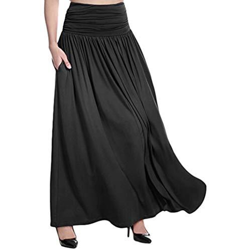 HuaMore Mince et Beau, Mince et Pas Cher Femmes Hautes Taille Solide Jupe Maxi Ladies Casual Balançoire Gitane Jupe Longue Grande Taill