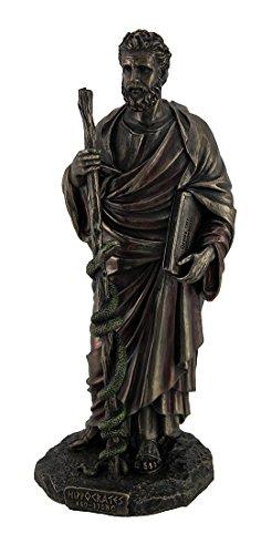 Hippokrates griechisch Vater der Medizin Holding Book & Staff Bronze Finish Statue (Hippokrates-statue)