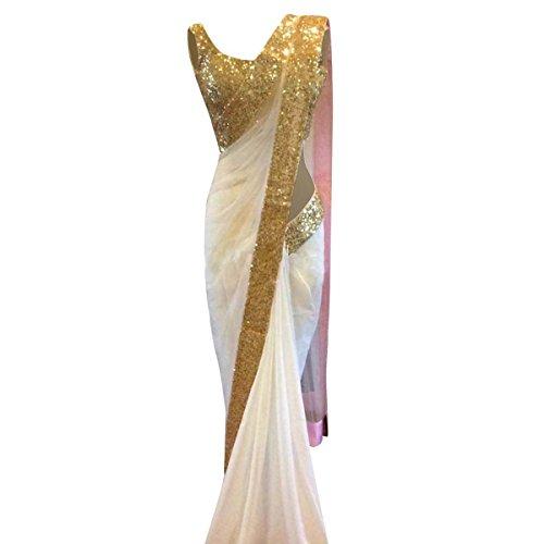 Indian Ethnic Bollywood Saree Partei-Abnutzungs-pakistanische Designer Sari Hochzeit Geschenk für Frauen (Weiße Indische Sari)
