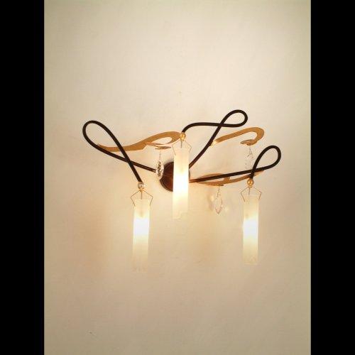 Holländer Wandleuchte 3-flg. CASINO, Eisen braun-gold - Glas weiß satiniert - Behang Kristall klar