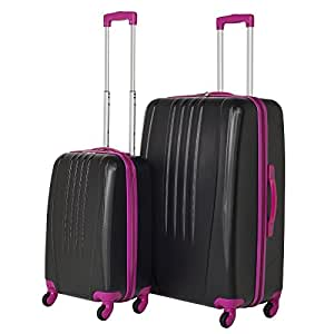 Swiss Case Luggage 4 Wheel Spinner Bold 2 Piece ABS Hard Shell Suitcase Set (Black/Pink)
