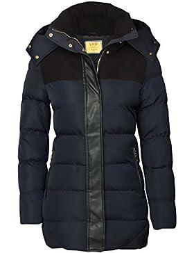 Abrigo de invierno para Mujer, con capucha, aspecto de plumón, cuero